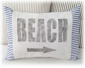 Beach Pillow Cover, for your Beach or Costal Home Decor made with Ticking Stripe and Drop Cloth