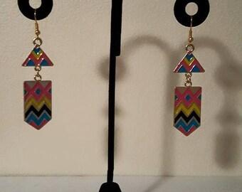 Tribal Earrings - Yellow Earrings - Pink Earrings - Blue Earrings - Colorful Earrings - Spring Earrings - Summer Earrings - Bright Earrings
