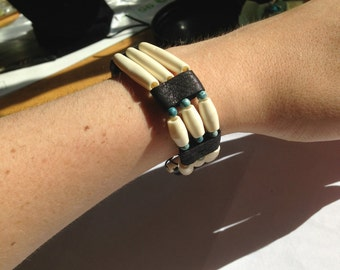 Bone and Turquoise Vintage Bracelet