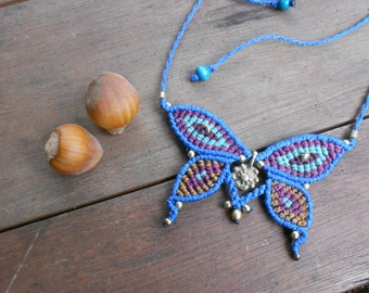 SOLD, NOT AVAILABLE Butterfly macrame necklace