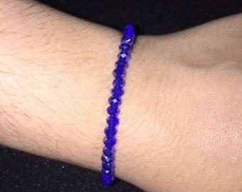 bicone beads, glass beads, blue bracelet, elastic bracelet everyday bracelet, gift for her, birthday gift, friendship bracelet,