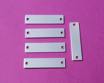 "100-5052 Aluminum 3/8"" x 1 3/4"" Rectangle Blanks - TWO HOLES - Polished Metal Stamping Blanks - 14G 5052 Aluminum"