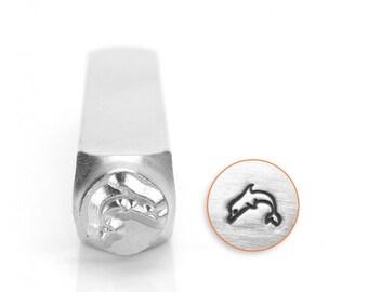 Dolphin Metal Design Stamp 6mm - ImpressArt - Leaping Dolphin Design - Marine Life - Nautical
