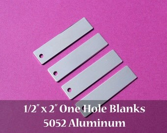 "200-5052 Aluminum 1/2"" x 2"" Rectangle Blanks - ONE HOLE - Polished Metal Stamping Blanks - 14G 5052 Aluminum"