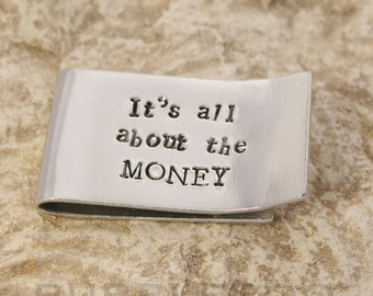 Personalised aluminium money clip hand-stamped with your choice of message or name. Handcrafted from aluminium.