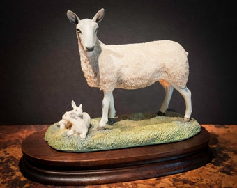 English Suffolk Sheep with Lambs Collectible from Scotland
