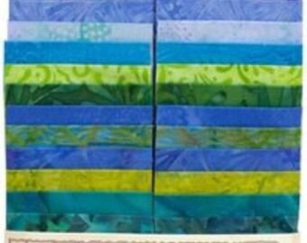 "Island Batik ""Hummingbird"" Strip Set  40 - 2.5 inch strips - jelly roll- blue, green, purple"