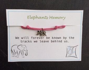 Elephant Bracelet - Elephant Friendship Bracelet - Elephant Memory - Adjustable Cotton Bracelet