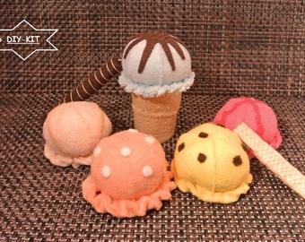 Felt Food DIY-Kit Ice Cream Set. Felt Food pattern, Felt Kit, Felt Pattern, Felt DIY, Felt diy Kit, felt ice cream, felt food pattern