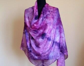 Fuchsia & Violet Silk Summer Scarf, Batik work, Original, Silk Painting, Fantasy, 1/1