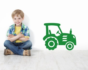Tractor Farm Yard Wall Decal, Tractor Wall Art, Tractor Wall Sticker, childrens bedroom tractor - Vinyl Wall Stickers - Tractor wall art
