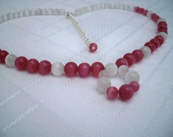 Pink & White Cats Eye Beaded Necklace