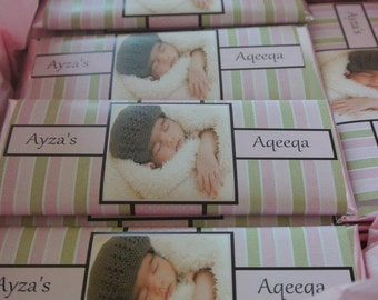 Personalized birth announcement candy bar wrappers, new baby girl gift, aqeeqa, custom, personalized favours, customized baby, 24 ct.