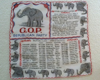 intage Unique & Rare Political Collectible - GOP Republican Party Handkerchief