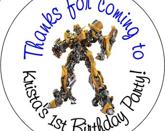 Transformers Birthday Party Stickers 2.5 inch Round Personalized kids