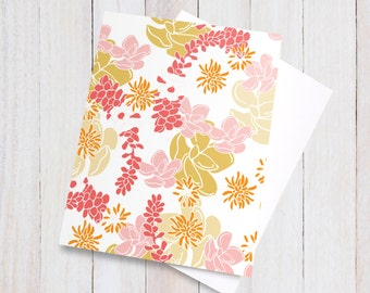 Desert Spirit Blank Card - floral pretty flowers beautiful pink red orange yellow girly colorful greeting card, gift card