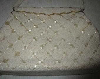 1950's White beaded  Handbag made in Hong Kong