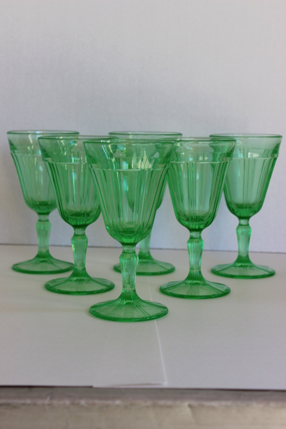Rare green depression glass 6 6 1 2 tall goblets for Most valuable depression glass patterns