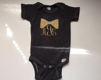 Black Onesie With Glitter Monogrammed And Bow