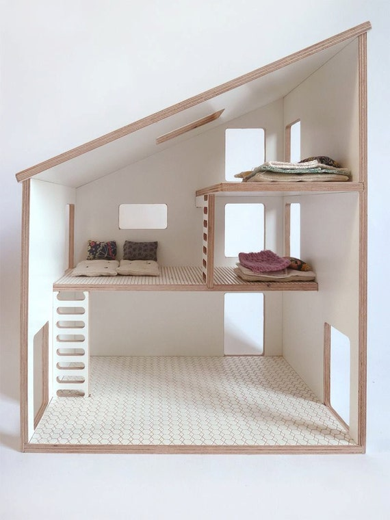 Doll house plywood white by milkywood on etsy for Big modern dollhouse
