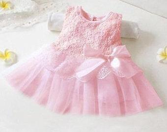 Pink party dress 3-9MOS-baby photo prop dress-birthday party tutu dress-baby pink infant dress-flower girl dress newborn-infant dress
