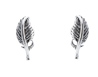 Sterling Silver Tiny Feather Stud Earrings Oxidised Finish e25