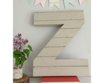 """18"""" Handcrafted Large Wood Wall Letter Z Unique Wedding Gift Rustic Nursery Decor Shabby Chic Gallery Wall Unique Annivery Gift"""
