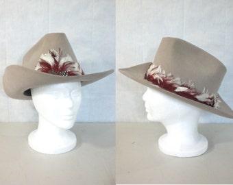mens cowboy hat. 70s hat. feather hat. wool & fur cowboy hat. mens western hat. mens country hat. mens stetson hat. trail ridge
