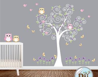 Baby Wall Decal - Nursery Vinyl Wall Decal - Kids Wall Sticker - Tree Decal - Nursery Decals - Children Tree Vinyl Decal -  51153
