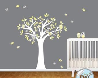 Yellow Gray Nursery Vinyl Decal - Nursery Wall Decal - Vinyl Tree Decal - Nursery Decals - Vinyl Wall Decal - Vinyl Wall Art - 528154