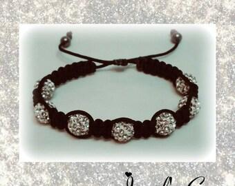 Sparkly Silver Crystal Shamballa Bracelet