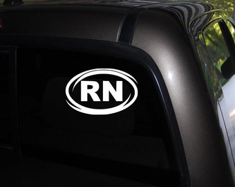 """RN Decal, Registered Nurse Decal, Nursing decals, vinyl decal sticker Free US Shipping 3.5"""" X 6"""" Black or White"""