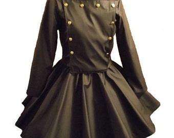 Military Jacket - Circle skirt - Black Vinyl Suit - Goth Skirt - Gothic Jacket - Gothic Lolita Military Jacket - Halloween Costume - Custom