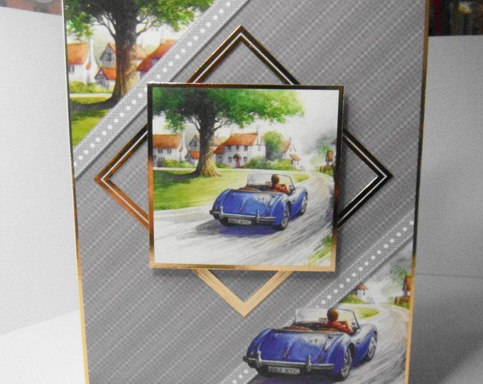 Birthday card, Greeting card, Driving Scene, Blue Sports Car, Village Scene, Suitable for Dad, Brother, Son, Uncle, Nephew, Grandad