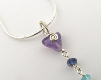 Amethyst Triangle with Spiral Chakra Necklace Sterling Silver Seven Gemstones