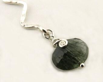 Tourmaline Quartz Necklace Sterling Silver Necklace Chakra Necklace Chakra Jewelry Zig Zag Silver Necklace