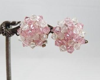 Vintage West Germany Pink Cluster Bead Clip-On Earrings