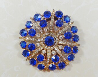 Vintage Large Round Blue and Clear Rhinestone Dress Clip
