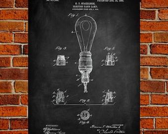 Light Bulb Art Print, Light Bulb Patent, Light Bulb Vintage, Light Bulb Blueprint, Light Bulb Print, Light Bulb Prints, Wall Art, Decor