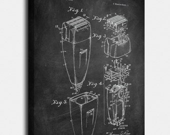 Electric Razor Canvas, Electric Razor Patent, Electric Razor Vintage, Electric Razor Blueprint, Print, Prints, Wall Art, Decor