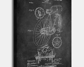 Bicycle  Canvases, Patent, Vintage Art, Blueprint, Poster, Wall Art, Décor