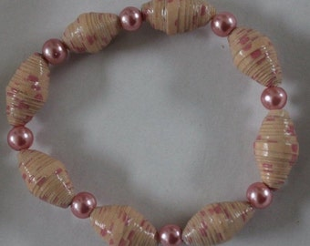 Handmade Paper Bead Bracelet (Peach and Pink)
