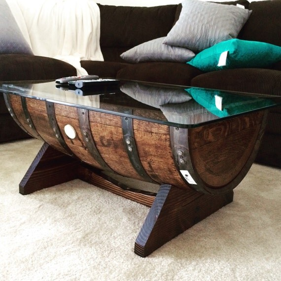 Authentic Jim Beam Whiskey Barrel Table By Bostonbarrelworks