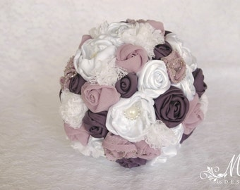 Recycle wedding bouquet in white eggplant and mauve, bridal bouquet, eco friendly, wedding accessories, lace, tulle, satin