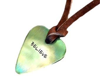 Guitar Pick Necklace - BELIEVE - Antique Distressed - Hand Stamped Necklace Leather - BFF Gift