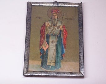 1920's antique greek chromolithograph icon, Saint Alexander