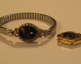 VINTAGE WATCH & BAND Converted to a Bracelet With Real Little Diamonds on the Face/Vintage Speidel Band/Unique and in Good Condition.