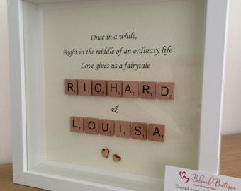 Fairytale Scrabble Frame Wedding Engagement Love