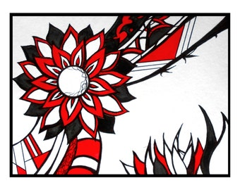 Red abstract flower drawing original contemporary art postcard