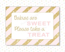 "Babies are sweet sign Pink Gold 5x7"" (INSTANT DOWNLOAD) - Baby shower candy buffet - Pink and gold baby shower decorations BA001G"